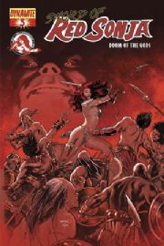 Red Sonja Doom of the Gods #3 Fiery Red Foil Variant COA Dynamite comic book